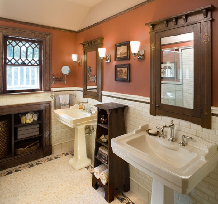 Отличный интерьер ванной комнаты создан благодаря оригинальным кофейным тонам в которых она преображена.