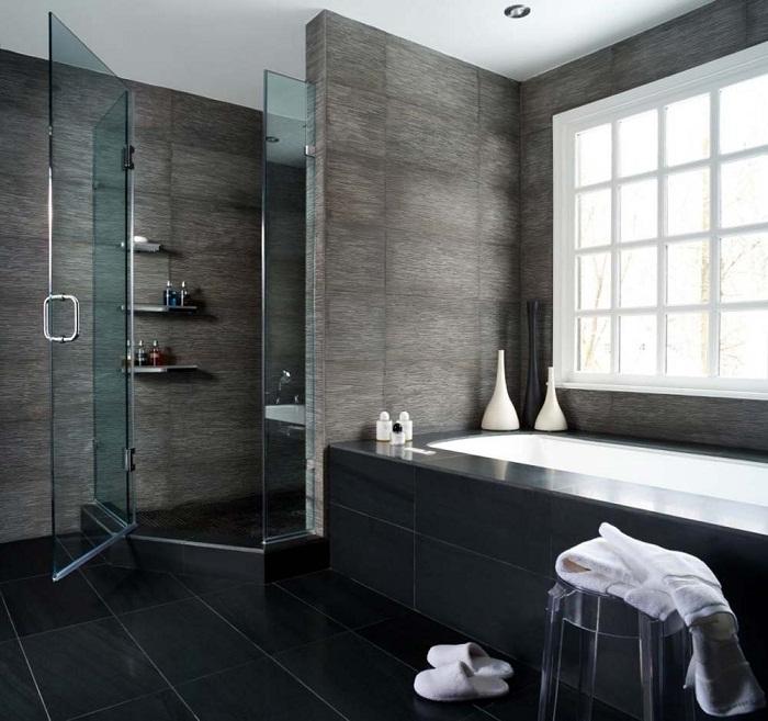Потрясающий вариант декорирования комнаты для принятия водных процедур, что понравится и создаст просто крутое настроение.