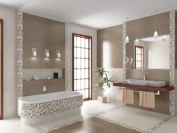 Отличный интерьер создан благодаря облагораживанию ванн мелкой и очень красивой плиткой.
