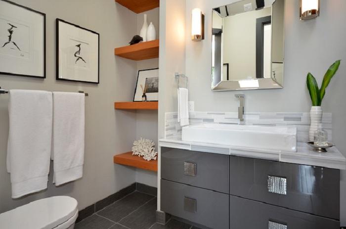 Отменный интерьер в ванной комнате пропитан особенным стилем и шармом.