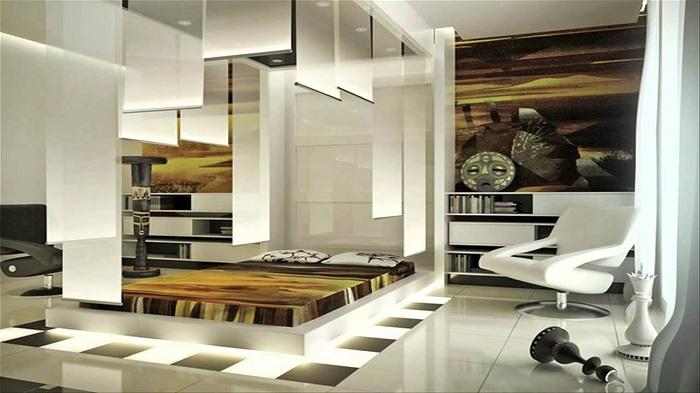 Нестандартная футуристическая спальня в этно-стиле.