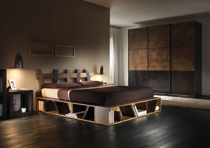 Крутой вариант обустройства интерьера спальной в темно-шоколадной расцветке.