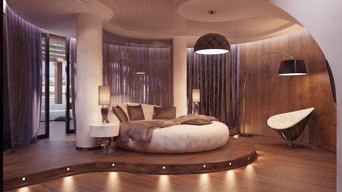 Отличный пример оформления комнаты для сна в мягких и нежных кофейно-сливочных оттенках.