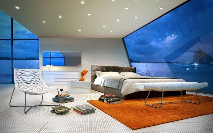Впечатляющее дизайнерское решение: ломаная геометрия панорамных окон.