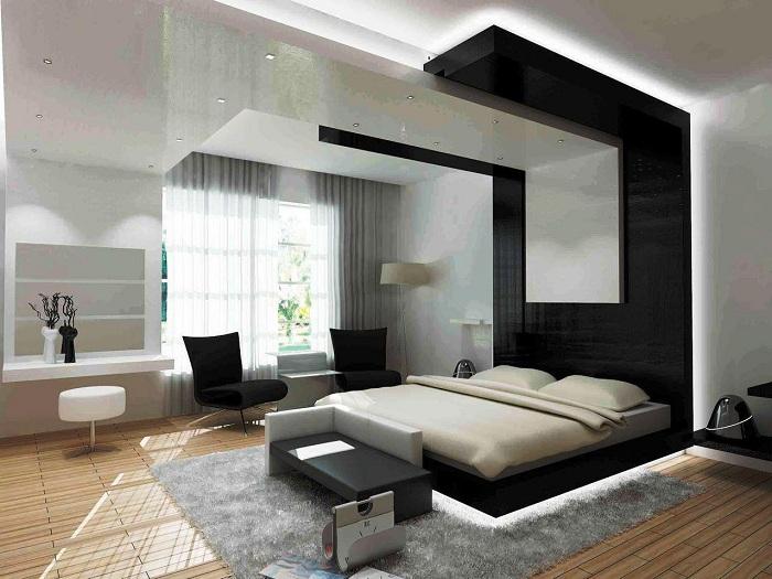 Оригинальная черно-белая спальня в футуристическом стиле.