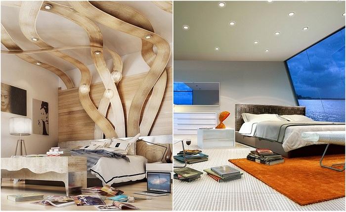 Примеры оформления спален в футуристическом стиле.
