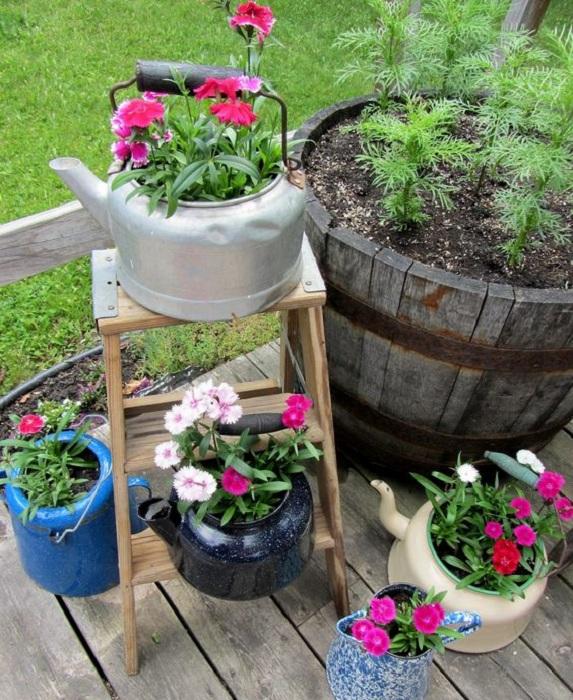 Симпатичные чайники-горшки для цветов в саду, станут просто невероятным дополнением к интерьеру любого сада.