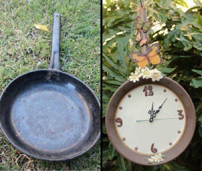 Интересный вариант создать часы со сковороды, что позволит создать необычный предмет в интерьере.