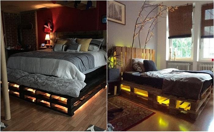Примеры преображения интерьера при помощи кроватей из паллет.