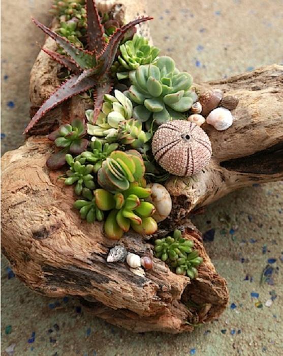Яркий и прекрасный кашпо из бруска дерева с композицией из растений.