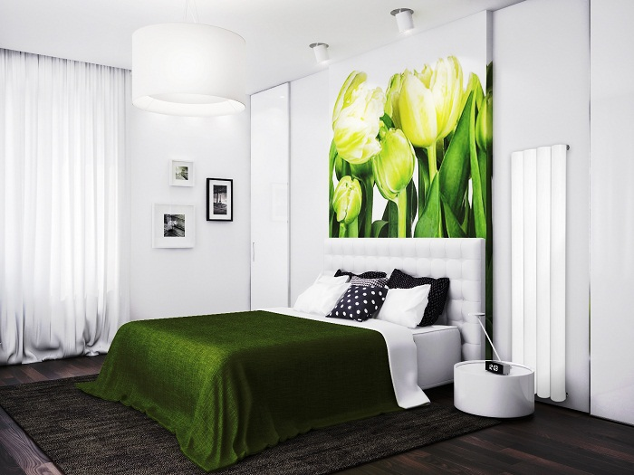 Оригинальный интерьер с зелеными элементами декора.