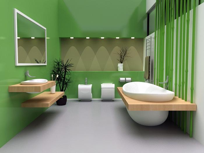 Современная ванная комната оформлена в лучших тенденциях.