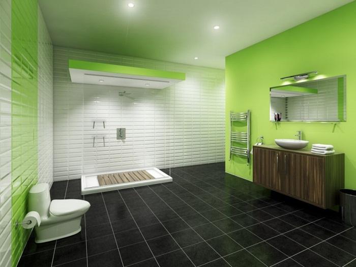 Оригинальный интерьер ванной комнаты - удачный пример оформления.