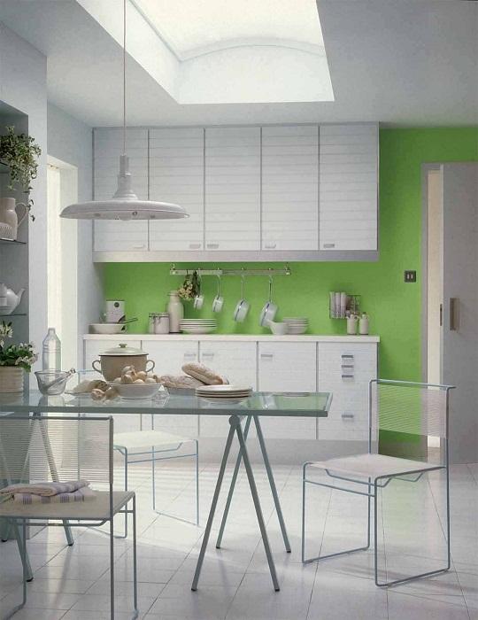Лучший пример декора кухни в белом цвете с яркой стеной.