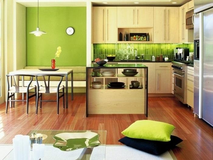 Отличное решение оформить комнату в салатовом цвете.