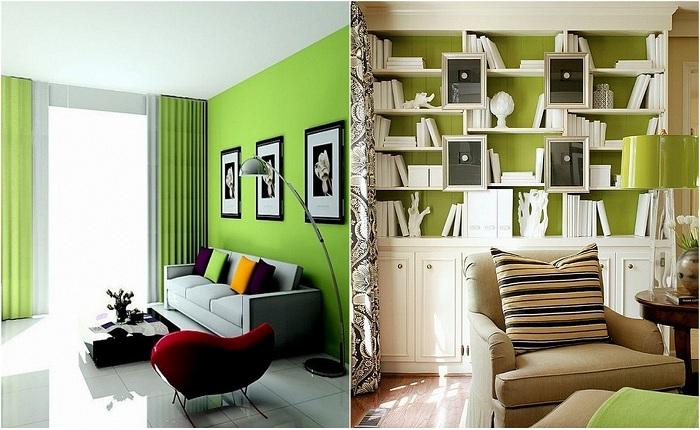Оформление комнат в зеленых тонах.