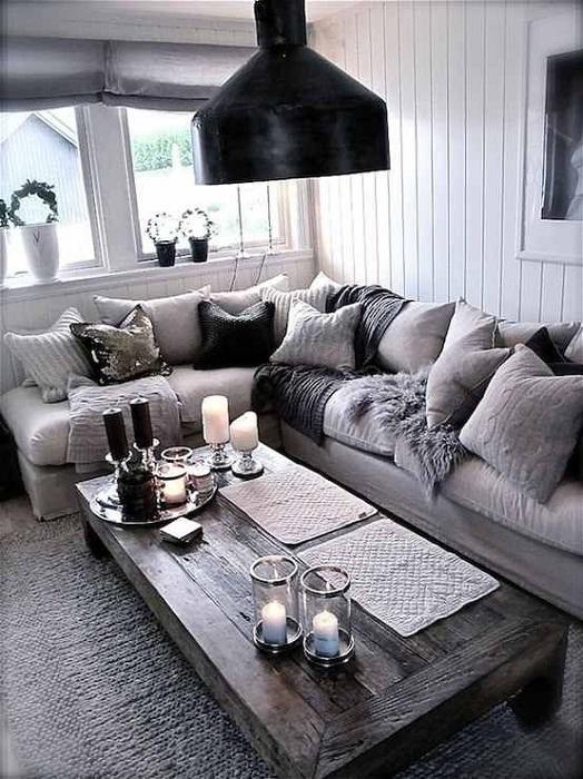 Серые оттенки в оформлении дизайна комнат, очень прекрасный вариант.