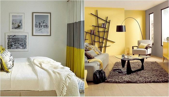 Идеи для декорирования гостиных в желто-серых тонах.