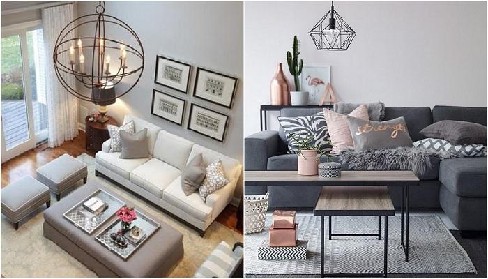 Симпатичные варианты оформления комнат в серых тонах.