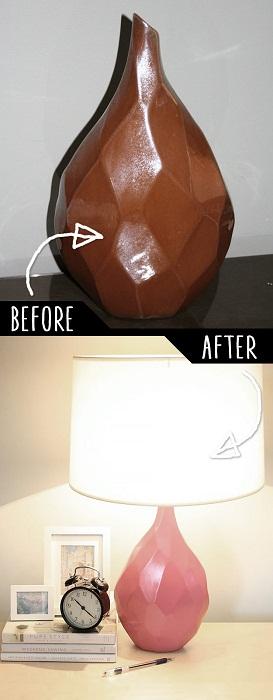 Ненужный на первый взгляд предмет интерьера стал дополнением к настольной лампе.