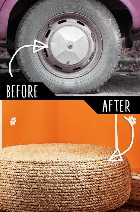 Красивый вариант создать из колеса пуф.