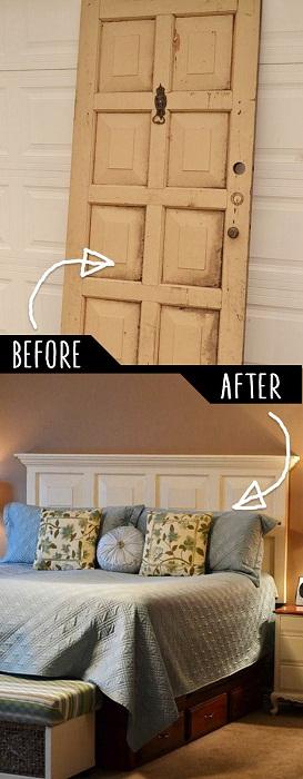 Отличная идея сделать дверь спинкой кровати, то что понравится.