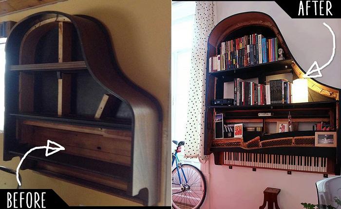 Крутая идея создать полку в виде рояля, которая преобразит интерьер.