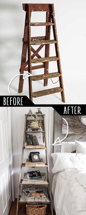Один из непростых вариантов создать полки из лестницы.