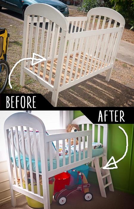 Переделанная часть детской кроватки в виде лестницы.