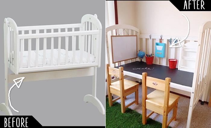 Интересная идея преобразить старую детскую кроватку и сделать из нее стол.