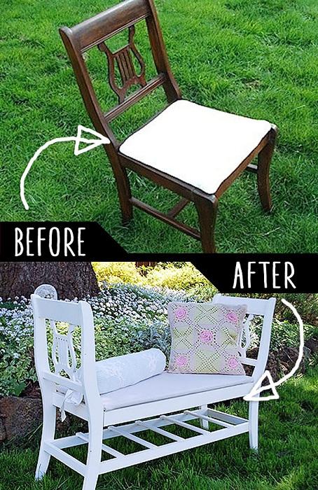 Ступ преображен в удачную и удобную лавку для сада.
