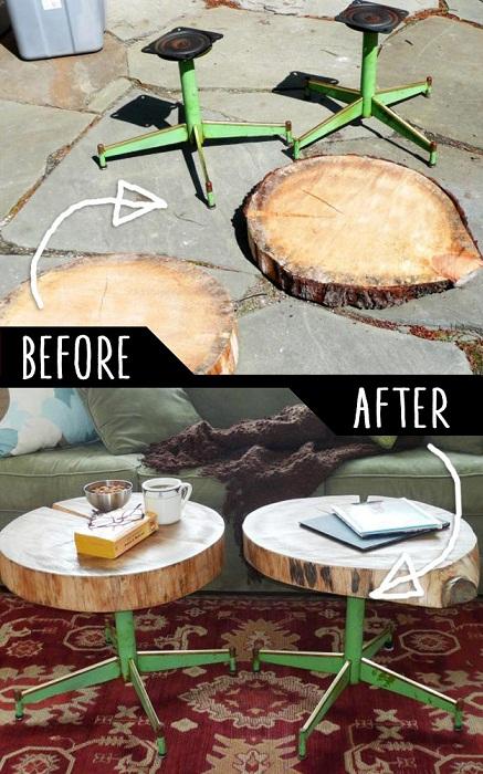 Интересный вариант с пней и старых ножек стульев – создать новые.