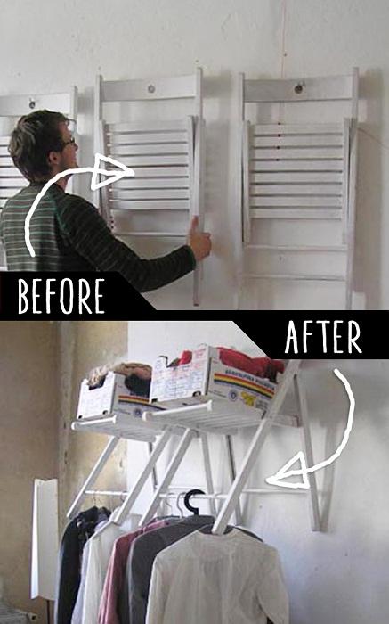 Обычный стулья вмонтированы в стену создали дополнительное место для хранения вещей.