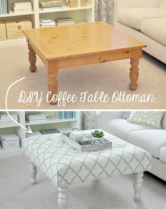 Старый стол легко и просто преображен в новенький вариант.