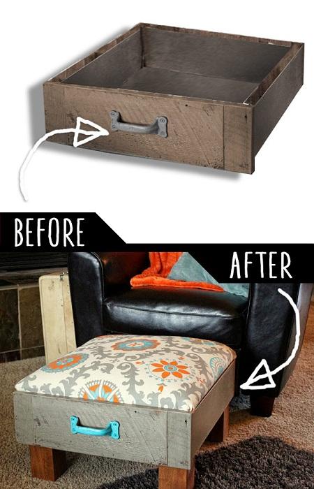 Старый ящик с комода стал новеньким стульчиком с ящичком.