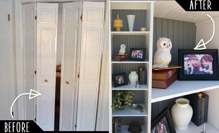Раздвижные двери стали шкафчиком для нужных вещиц.