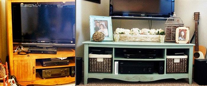 Старенькая подставка под телевизор стала отличным комодом.