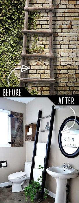 Интересный вариант создать вешалку для полотенец из старой лестницы.