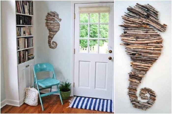 Интересные варианты оформления стен при помощи веток - придутся по душе многим любителям нестандартных вещей.