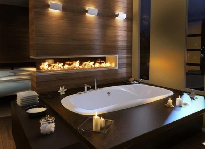 Крутое решение для того чтобы разместить камин в ванной комнате.