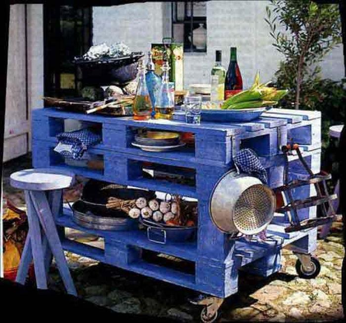 Деревянная кухня, специальное место для приготовления самых вкусных блюд на свежем воздухе.