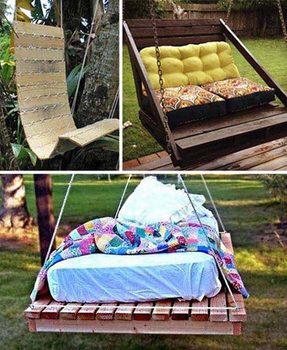 Интересные варианты создания качель в саду, для того чтобы хорошо проводить время и отдыхать.
