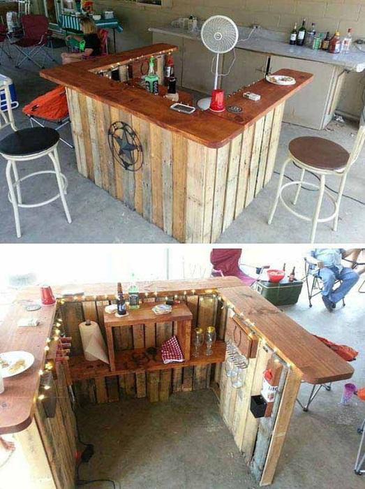Крохотный мини-бар возможно соорудить из европоддонов, что в свою очередь станет отличным дополнением для обстановки в саду.