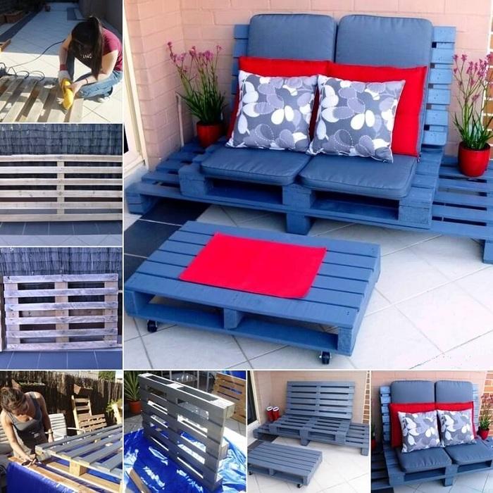 Интересная идея для создания мебели из европоддона, что сможет украсить сад.