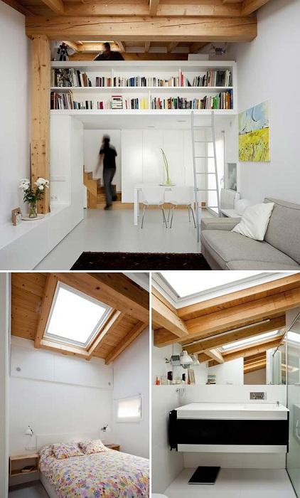 Иногда необработанные деревянные конструкции используют для того чтобы создать визуальный комфорт и эффективно использовать пространство.