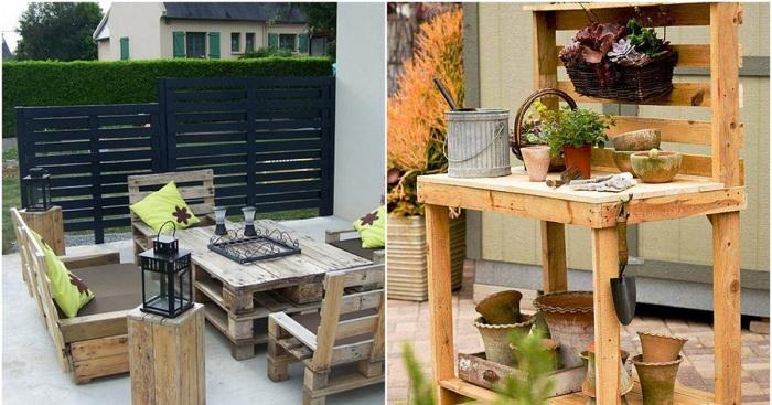 Идеи для сада - интересные поделки из европоддонов своими руками.