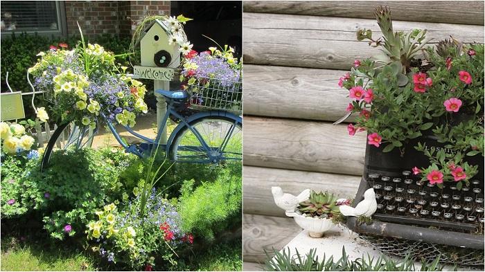 Использование старой мебели в саду и дома: яркие примеры.