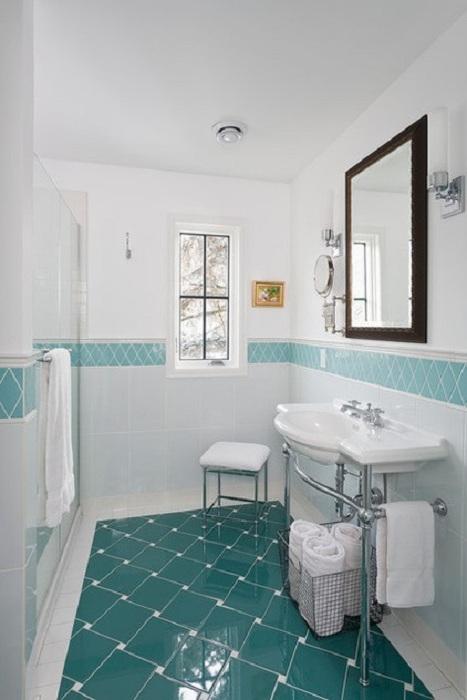 ванная в бело голубых тонах фото