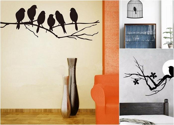 Оформить стены в комнате возможно креативно при помощи нарисованных птиц.
