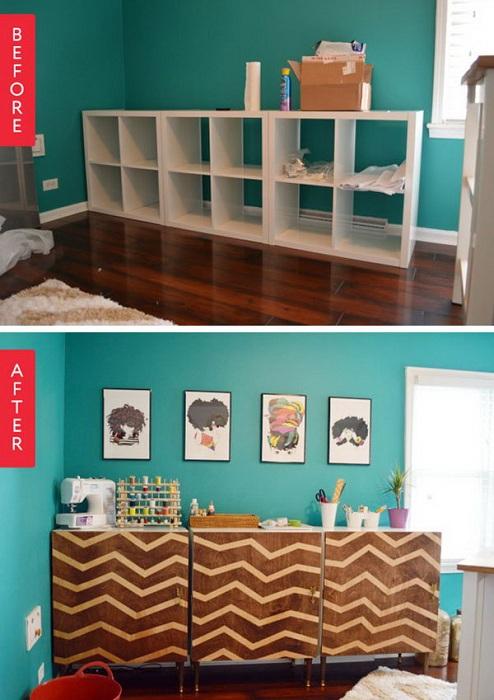 Оригинальное преображение комнаты при помощи тумбы с множеством ячеек для хранения вещей.